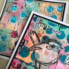Dina Wakley Scribbly Bird Birthday card Texture Paste, Simon Says Stamp, Tim Holtz, White Paints, Altered Art, Birthday Cards, Stencils, Mixed Media, Card Making