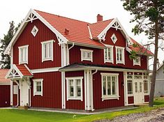 Love The Brick Red Color Swedish Cottage House White
