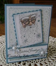 Stitched Santa in Blue by Ella Jane - Cards and Paper Crafts at Splitcoaststampers Christmas Card Crafts, Homemade Christmas Cards, Christmas Cards To Make, Noel Christmas, Xmas Cards, Homemade Cards, Handmade Christmas, Holiday Cards, Santa Crafts
