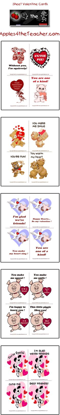 Printable Valentines Day cards, Interactive printable Valentine's Day greeting cards.