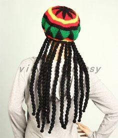 Fashion National Jamaica Braid Hand Crocheted Beret Hat Halloween Hat | Hats | Men's Accessories - Zeppy.io