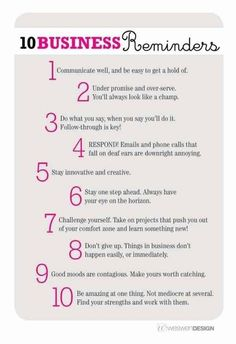 10 Business Reminders - some thoughts on how to be successful