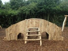 Rustic Wooden Humpback Bridge: Freestanding or used to connect structures, we can make any bridge style you desire to be part of your adventure playground.