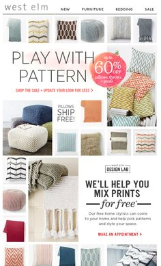 Email Design with a grid. West Elm Feb 2014