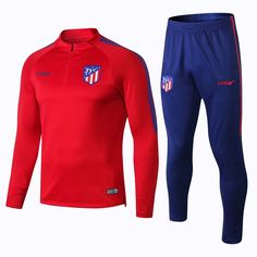 2018 19 Men Atletico Madrid Red Tracksuit Soccer Training Suit Adult  Football Sport Wear fb2370627