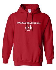 Canadian Girls Kick Ass Pride Beer Proud Olympic Team Military hockey support Hoodie Hooded Sweatshirt Mens Ladies swag tv Canada Day ML-262...