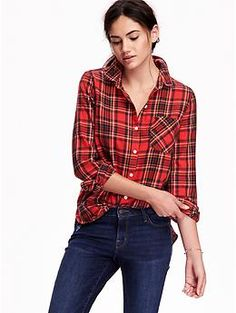 Women's Classic Plaid Flannel Shirt | Old Navy