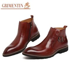 199.00$  Watch now  - GRIMENTIN Hot Sale Fashion Designer Classic Ankle Male Boots Genuine Leather Luxury Men Business Shoes High Quality Mens Boots