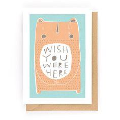 WISH YOU WERE HERE - Greeting Card www.freya-art.com