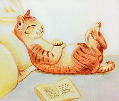 吃飽飯了嗎? 休息一下養足精神再工作吧 #art #illustration #color #painting #cat #sleeping