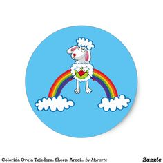Colorida Oveja Tejedora. Sheep. Arcoiris, rainbow. Producto disponible en tienda Zazzle. Product available in Zazzle store. Regalos, Gifts. Link to product: http://www.zazzle.com/colorida_oveja_tejedora_sheep_arcoiris_rainbow_classic_round_sticker-217233475535678453?CMPN=shareicon&lang=en&social=true&rf=238167879144476949 #sticker #oveja #sheep