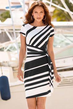 941ce3018dab2 White Black Stripe Knot Short Sleeve Sheath Dress