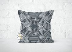 Grey Geometric Pillow Cover  Phase Gunmetal  Lumbar 12 by motion52