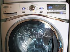 "How to cleaning an HE Washer with Household Products. If you don't have a ""clean washer"" cycle use hottest setting"