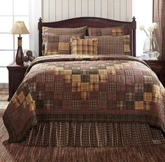 Create your new cabin retreat with our new Prescott Collection by VHC Brands. This  stunning quilt features stitch in the ditch quilting in an around the world pattern in plaid fabrics.A palette of browns, tans, and neutrals give Prescott a lodge-like feel. ~ KD Home Fashions
