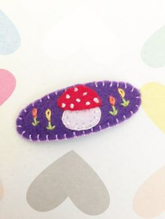 Felt Mushroom Toddler Hair Clip (Purple), Felt Hair Clip, Christmas Gift, Girl Hair Clip, Baby Shower Gift, Handmade Barrette