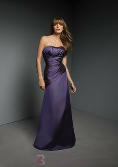 Full length Strapless Lace up Back Taffeta Bridesmaid Dress B1076