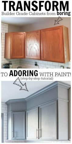 Home Decorating Ideas On a Budget DIY Home Improvement Projects On A Budget - Transform Boring Cabinets - Cool Hom. Home Design Ideas: Home Decorating Ideas On a Budget Home Decorating Ideas On a Budget DIY Home Improvement Projects On . Kitchen Ikea, Kitchen Paint, Kitchen Redo, Updating Kitchen Cabinets, Diy Painting Kitchen Cabinets, Resurfacing Kitchen Cabinets, Cheap Kitchen Makeover, Ranch Kitchen, Kitchen Cabinets With Crown Molding