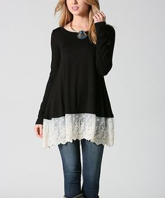 Another great find on #zulily! Black Lace-Hem Swing Tunic #zulilyfinds