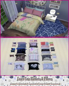 Cute Blankets & Pillows at Enure Sims via Sims 4 Updates Check more at http://sims4updates.net/objects/decor/cute-blankets-pillows-at-enure-sims/