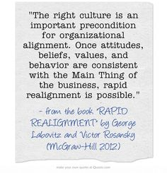 The right culture is an important precondition for organizational alignment. Once attitudes, beliefs, values, and behavior are consistent with the Main Thing of the business, rapid realignment is possible.