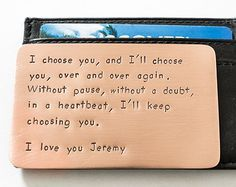 228e13248c6e8 Wallet Insert Card - Personalized Hand Stamped Copper - Long Lasting Gift  for Husband Boyfriend Seven