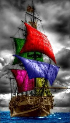 A pirate ship for you! Tattoo Barco, Color Splash, Color Pop, Bateau Pirate, Old Sailing Ships, Black Sails, Ship Art, Tall Ships, Pirates Of The Caribbean