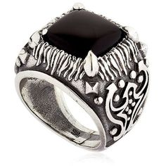 Emanuele Bicocchi Men Onyx & Sterling Silver Square Ring ($455) ❤ liked on Polyvore featuring men's fashion, men's jewelry, men's rings, silver, mens sterling silver black onyx rings, mens onyx rings, mens sterling silver rings, mens rings and mens square ring