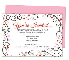 "Generic Invitations : Amour Any Occasion Invitation Template edits with word, openoffice, publisher, apple iwork pages. Printable DIY templates with ""You're Invited..."" prewritten in script font."