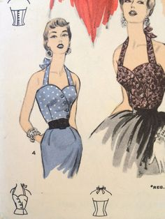50s Halter Tops Sewing Pattern Advance 6689 by EpicVintage on Etsy