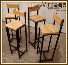 Mobilier Circa Who Code: 6379631274 Welded Furniture, Loft Furniture, Steel Furniture, Industrial Furniture, Pallet Furniture, Furniture Design, Wood Bar Stools, Bar Chairs, Cafe Interior