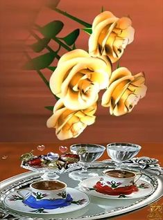 Good Morning Coffee Images, Good Morning Gif, Good Morning Greetings, Beautiful Nature Scenes, Beautiful Gif, Beautiful Roses, Good Morning Flowers Rose, Happy Sunday Images, Swarovski Crystal Figurines
