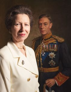 Princess Anne, The Princess Royal, posed in front of a portrait of her maternal grandfather, King George VI.