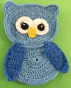 Crochet owl body with head and wings