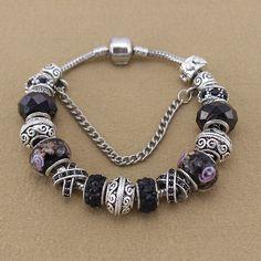 Fashion Jewelry 925 Silver Bracelets & Bangles Crystal Murano Beads Charm Bracelets For Women DIY Vintage Bead Bracelets 13
