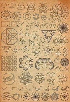 Old World Geometry Fractal Tattoo, Fractal Art, Fractal Geometry, Geometric Designs, Geometric Shapes, Sacred Geometry Tattoo, Sacred Geometry Symbols, Geometry Pattern, Math Art