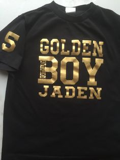 Golden Birthday Boy Shirt tshirt personalize with name & age by DesignsbyJackelyn on Etsy