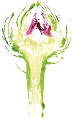 Artichoke - One of the Illustrations created by stamping real veg from Hugh Fernley-Whittingstall cookbook Botanical Illustration, Illustration Art, Easy Watercolor, Watercolor Painting, Photography Illustration, A Level Art, Organic Form, Food Drawing, Fruit And Veg