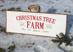 Christmas Tree Farm Vintage Wooden Sign with Tutorial