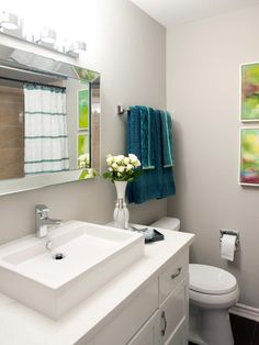 Looking for Modern Bathroom and Small Bathroom ideas? Browse Modern Bathroom and Small Bathroom images for decor, layout, furniture, and storage inspiration from HGTV. Bathroom Renovations, Home Renovation, Easy Home Upgrades, Discount Bedroom Furniture, New Home Buyer, Restroom Remodel, Modern Bathroom, Bathroom Ideas, Bathroom Inspiration