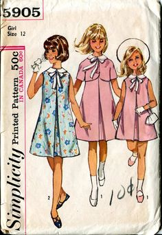 Simplicity 5905 Girls Vintage 60s Pattern  Dress and by bellaloona, $4.00