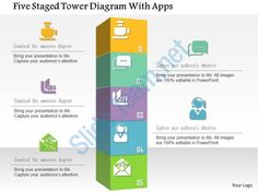 0115 five staged tower diagram with apps powerpoint template