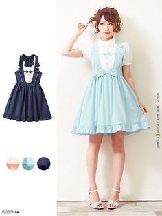 c29402e4e8d Japanese Design Womens Sleeveless Dress Suspender Overall Dress Lolita Cute  Bows