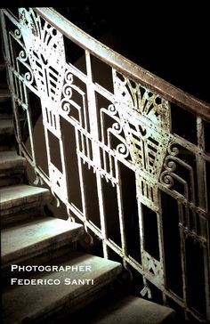 Circa 1915, late Secession Iron stairway element. The theme was carried throughout the interior balconies and doors. From a Townhouse in Budapest, Hungary.