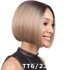 Bobbi Boss Premium Futura Synthetic Hair Deep Center Part Lace Front Wig - ML. Black Bob Hairstyles, Sleek Hairstyles, Hairstyles 2016, Melena Bob, Short Blonde Bobs, Cotton Candy Hair, Blonder Bob, Bobs For Thin Hair, Pelo Bob
