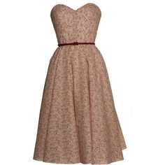 Style Icon's Closet 50s style Vintage Inspired Pin-Up African Print Retro Rockabilly Clothing Beige Vintage Inspired 50s Style Ditsy Print Dress found on Polyvore
