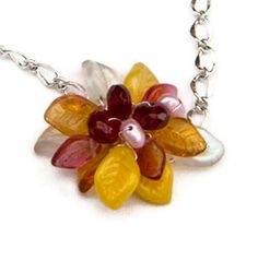 Pink and Yellow Beaded Necklace, Flower Necklace, Pendant Necklace, Nature Jewelry. $44.95, via Etsy.