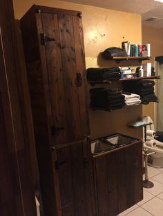 Rustic bathroom cabinet and laundry hamper