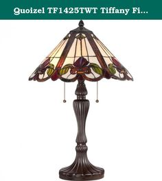 "Quoizel TF1425TWT Tiffany Fields with Western Bronze Finish Table Lamp. Tiffany - Fields with Western Bronze Finish: Featuring neutral colors that are carefully chosen to suit a variety of decors, the 24""-high Fields table lamp boasts 330 pieces of Tiffany-style art glass and 12 jewel pieces that are hand-assembled using the copper-foil technique developed by Louis Comfort Tiffany. The fluted base in a Western Bronze finish adds to the beauty. The lamp takes two 75-watt, medium-base bulbs."