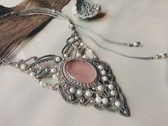 Grey necklace with rose quartz stone, silver and pearls. Special piece for someone special❤ Available  https://www.etsy.com/in-en/listing/477226422/fairy-elf-macrame-necklace-gray-pink?ref=shop_home_active_2